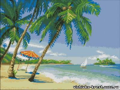 Морской пейзаж с пальмами