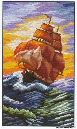 вышивка крестиком корабли